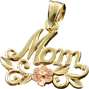14K Scroll Mom Filigree Cut Out Flower Charm/Pendant Yellow Gold