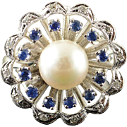 14K 7.5mm White Pearl 0.35 CTW Sapphire Diamond Ring Size 6 White Gold