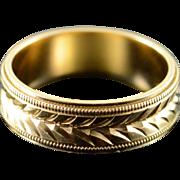 14K Cut Arrow Motif 5.9mm Wedding Band Ring Size 6 Yellow Gold
