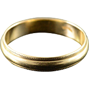 14K Milgrain Wedding Band Unisex Ring Size 9 Yellow Gold
