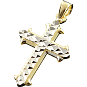14K Two Tone Cross Faceted Charm/Pendant Yellow Gold