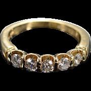 14K 0.50 Ctw Round H/SI-I 5 Stone Pressure Set Diamond Wedding Band Ring Size 3.3 Yellow Gold