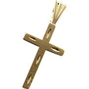 14K Art Carved Cross Pendant Yellow Gold