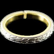 Plat/18K Vintage Two Tone Vintage Engraved Wedding Band Ring Size 6 White Gold