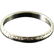 18K 2.5mm Fancy Engraved Wedding Band Ring Size 7 White Gold
