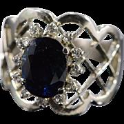 18K 2.15 Ctw Sapphire Diamond Halo Ring Size 8.75 White Gold