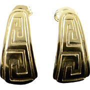 14K Greek Key Cuff Earrings Yellow Gold