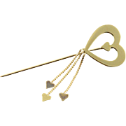 14K Heart Outline Dangle Stick Pin Yellow Gold