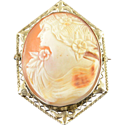 14K Victorian Filigree Carved Cameo Woman Pin/Brooch White Gold