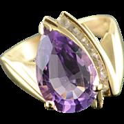 10K 5.50 CTW Amethyst CZ TearDrop Ring Size 8 Yellow Gold
