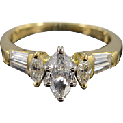 18K 1.15 Ctw Marquise H/SI2 Accent Diamond Engagement Ring Size 4.5 Yellow Gold