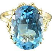 10K 12.00 CT Oval Blue Topaz Filigree Ring Size 9.25 Yellow Gold