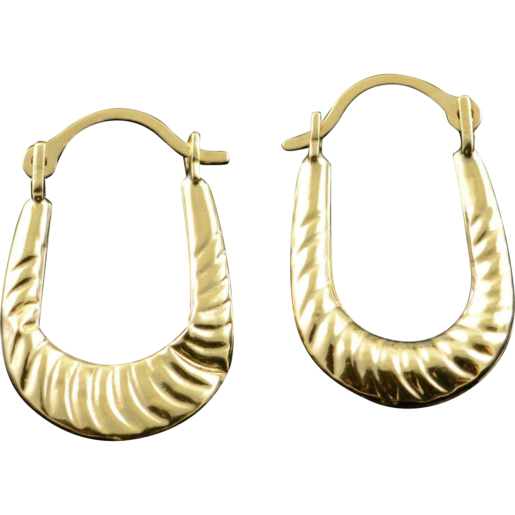 14K Hollow Hoop Scallop Earrings Yellow Gold from curiouscabinet on Ruby Lane