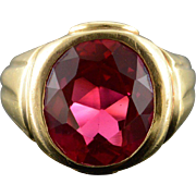 10K 8.00 CT Created Ruby Bling Men's Ring Size 9.25 Yellow Gold