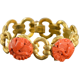"""18K Antique Carved Coral Textured Heavy Bracelet 7.25"""" Yellow Gold"""