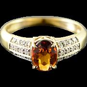 10K 1.15 CTW Citrine Diamond Ring Size 8 Yellow Gold
