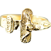 14K Cross Crucifix Jesus Wrapped Ring Size 5.5 Yellow Gold