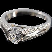Palladium 0.81 Ct J / VS2 Oval 1.06 Ctw Diamond Engagement Ring Size 6.75