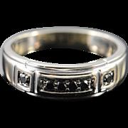 14K 0.25 Ctw Black Round Diamond Men's Wedding Band Ring Size 12 White Gold