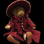 """Adorable Antique Mohair Long Snout Bear 12"""" Circa 1900's"""