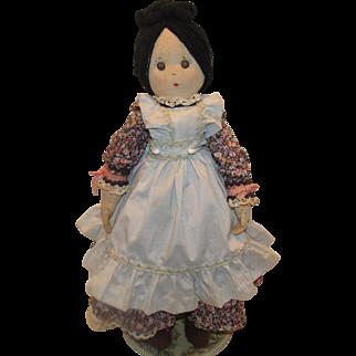 """Early Wonderful Cloth, Rag , Folk Art Doll With Shoe Button Eyes 25"""""""