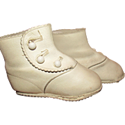 Wonderful Vintage White Leather Doll Boots French/German Doll