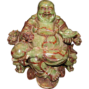Fine Rare Large Antique Chinese Carved Jade Laughing Buddha