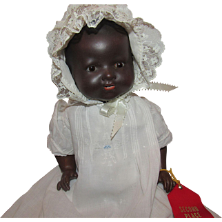 """Beautiful 16"""" German Bisque Black AM Dream Baby on a Composition Body"""