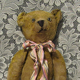 "Antique Mohair Long Snout Jointed Excelsior Stuffed Well Loved German Bear 16"" Circa 1910"