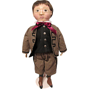 Sweet Unusual Paper Mache Artist Cloth Boy Doll 22""