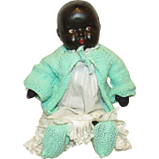 "Beautiful Vintage Composition & Cloth Black Baby Doll With Side Glancing Eyes 16"" Circa 1920"