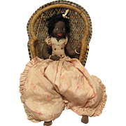 Early Black Cloth, Folk Art Cloth Rag Bed Doll With Beautiful Painted Features 24""