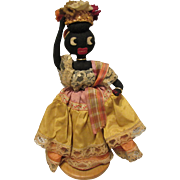 Rare Early Black Cloth Rag Brazilian Folk Doll On Wood Stand 9""
