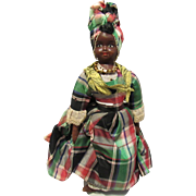 Early Wonderful Black Rag Cloth Folk Art Character Doll 15""