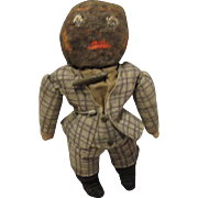 All Original Early Unique Black Stuffed Cloth Doll With Oil Painted Features