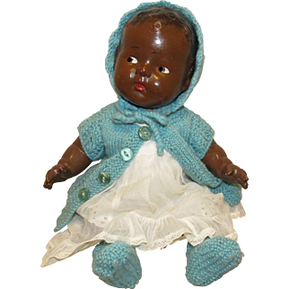 """Wonderful Vintage Black Composition Baby Doll With Side Glancing Eyes 16"""" Circa 1919"""