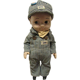 """Vintage All Original """"BUDDY LEE"""" Advertising Doll In Railroad Engineer Outfit 13"""" Circa 1949"""