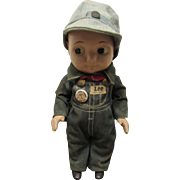 "Vintage All Original ""BUDDY LEE"" Advertising Doll In Tagged Jean Overall Outfit 13"" Circa 1949"