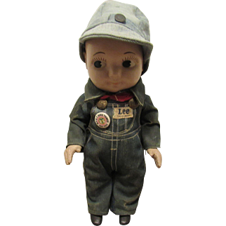 """Vintage All Original """"BUDDY LEE"""" Advertising Doll In Tagged Jean Overall Outfit 13"""" Circa 1949"""