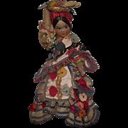 "Beautiful Vintage Joao Perotti Cloth Lady Felt Boudoir Doll 20"" Circa 1930's"
