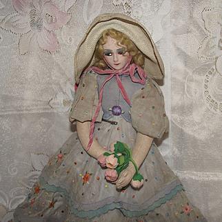 "Beautiful Vintage Joao Perotti Cloth Lady Felt Boudoir Doll 21"" Circa 1930's"