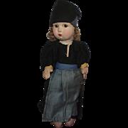 "Vintage Italian Felt Character Cloth Doll 11"""