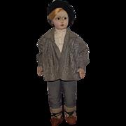 "Wonderful Old Felt Large Cloth Character 25"" Boy Doll Circa 1930's"