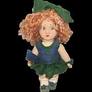 Old Cloth Wonderful Character Felt Doll In Original Felt Outfit