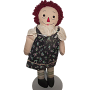 Old Raggedy Ann Cloth Doll 20""