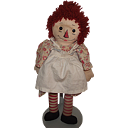 "Johnny Gruelle's & Georgene Novelties Old Raggedy Ann Cloth Doll 20"" Circa 1940's"