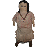 Very Old Large Cloth Rag Doll With Stitched On Facial Features 20""