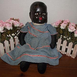 "Beautiful Vintage Black Cloth, Rag Doll, Bisque Head 16"" Circa 1920's"