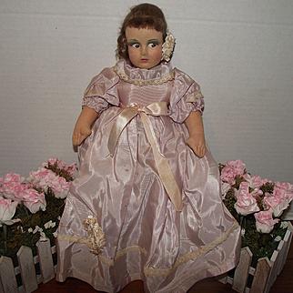 "Beautiful Vintage Cloth, Mask Face Rag Doll, 15"" Circa 1940's"