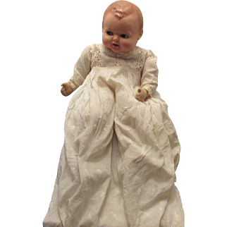 """Sweet Vintage Large Flirty Eyes Composition & Cloth Mama Baby Doll 25"""" Tall"""